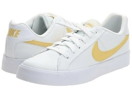Nike Court Royale AC AO2810-109 Lifestyle Shoes White Gold Swoosh Womens... - $78.39