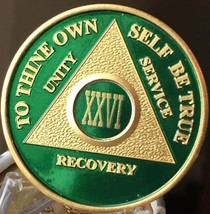 26 Year AA Medallion Green Gold Plated Alcoholics Anonymous Sobriety Chi... - $20.39