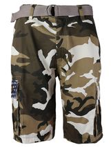 SW Men's US Force Military Army Multi Pocket Camouflage Cargo Shorts with Belt image 5
