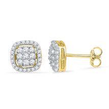 10k Yellow Gold Womens Round Diamond Square Cluster Fashion Earrings 1/2 Cttw - $413.00
