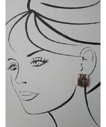 VINTAGE CLIP EARRINGS GOLDTONE BUTTON STYLE W/ BEIGE MARBELIZED RECTANGLE - $20.00