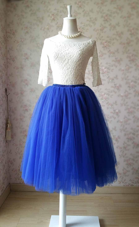 Mid-Calf Cobalt Blue Tulle Skirt Fluffy 7-Layer Adult Tutus Blue Petticoat NWT