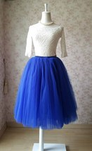 Cobalt Blue Midi Tulle Skirt 6 Layered Tulle Tutu Skirt Blue Ballerina Skirt image 2