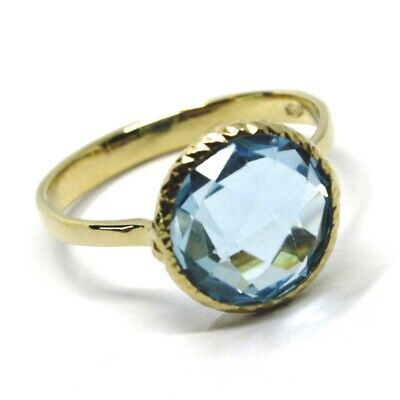 SOLID 18K YELLOW GOLD RING, CENTRAL CUSHION ROUND BLUE TOPAZ, DIAMETER 10mm