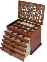 Real Wood / Wooden Jewelry Box Case (Dark Brown) - $150.69