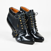 Givenchy Black Leather Lace Up Ankle Boots SZ 39.5 - $270.00