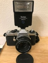 Pentax ME Super Silver/Black film camera w/ 50mm f/2.0 with Vivitar 2600... - $188.81