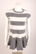 Zara Kid Girls Striped Knit Dress Gray White Ruffled 6254/704 NWOT sz 9-... - $15.99