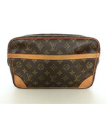 Authentic LOUIS VUITTON Monogram Canvas Leather Compiegne 28 Clutch Bag ... - $200.31