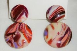 Sobral Gorky Swirled Red Pink Off White Dangle Post Earrings Brazil Import - $39.60