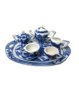 Blue Willow Child's Miniature Tea Set Pieces Birds Rectangle Decorative New - $21.53