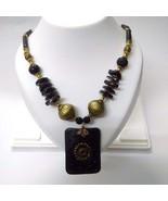 Necklace Pendant Wood Wooden Bead Handmade Jewelry Ethnic Boho Chic Fusi... - $12.86
