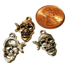 Pirate Skeleton Skull with Bandana Fine Pewter Charm 13mm L x 19.5mm W x 2.5mm D image 2