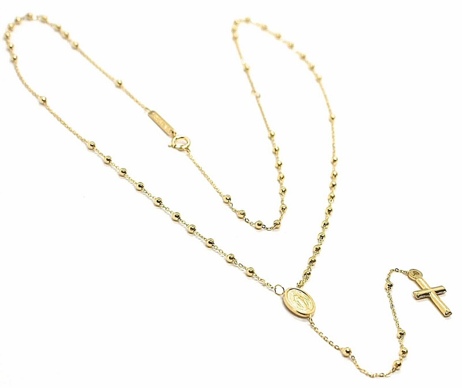Mini Collar Rosario Oro Amarillo 750 18K, Medalla Milagrosa, Cruz, 48 CM
