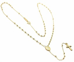 Mini Collar Rosario Oro Amarillo 750 18K, Medalla Milagrosa, Cruz, 48 CM - $341.39