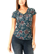 William Rast Women's Blue Paisley Floral Printed Lace-Up Top Size Medium... - $11.97