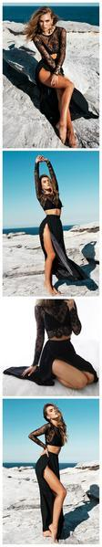 Black Long Sleeves Sexy Slit Two-piece Party Cheap A-line Prom Dress,PD0056