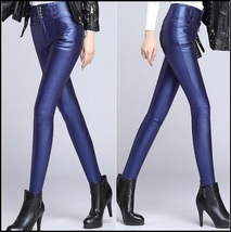 Blue Stretch Faux Leather High Waisted Button Up Skinny Pencil Trousers image 2