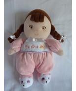 Garanimals Pink My First Doll Rattle Brown Braids Plush Soft Toy Baby BR... - $14.65