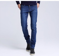Mens jeans New Fashion Men Casual Jeans Slim Straight High Elasticity Fe... - $41.22