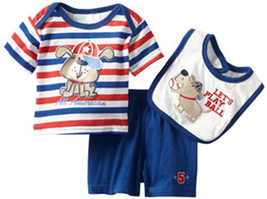 Baby Togs Infant Boys Dog 3 Piece Short And Bib Set Size   - $20.00