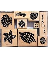 Stampin' Up Definitely Decorative Shells Wood Mount set of 9 Rubber Stamps - $59.99