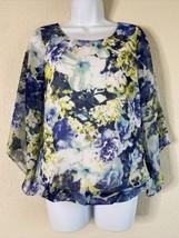 I.N. Studio Women Size PS Floral Blouse Elastic Waist Hem 3/4 Bell Sleeve  - $12.57