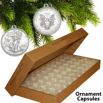 25 Direct Fit 40.6mm CHRISTMAS ORNAMENT Coin Capsules w/Hook for SILVER ... - $10.35