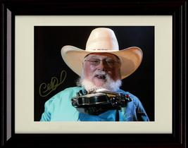 Framed Charlie Daniels Autograph Replica Print - Posing With His Fiddle - $39.99