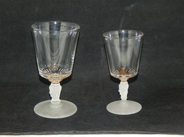EAPG Three Face Glass Water Goblet and Wine Glass - $17.82