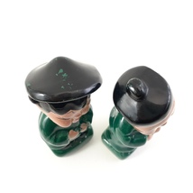 Pair of Asian Children Figurines Dressed in Green and Black Japan image 5