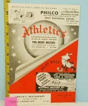 1951 Philadelphia Atheltics Baseball Scorecard v Red Sox Unscored P333 - $23.76