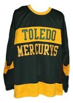 Custom Name # Toledo Mercurys Retro Hockey Jersey New Green Any Size image 1