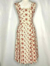 Vintage Midi Day Dress S White Red Starfish Shells Pockets Pleats Fit an... - $89.05