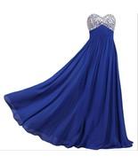 Shiny Beaded Bodice Royal Blue Chiffon Long Prom Dresses Sweet Women Par... - $68.00