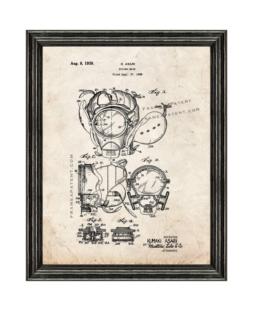Primary image for Diving Mask Patent Print Old Look with Black Wood Frame