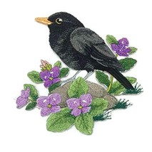 Nature Weaved in Threads, Amazing Birds Kingdom[British Blackbird and Brooklime] - $17.82