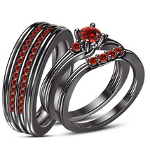 Red Garnet 925 Sterling Silver His & Her Trio Ring Set 14K Black Gold Finish - $156.99