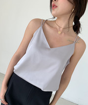 Ladies V-Neck Sleeveless Chiffon Tank Top Summer Chiffon Sleeveless Top US0-US12 image 13