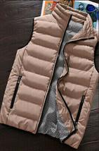 Men's Full Zip Water Resistant Outdoor Padded Packable Puffer Vest Tan 2XL image 2