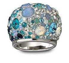 AUTHENTIC SWAN SIGNED SWAROVSKI CHIC MULTI BLUE DOME RING 1041084 SIZE 5... - $40.00
