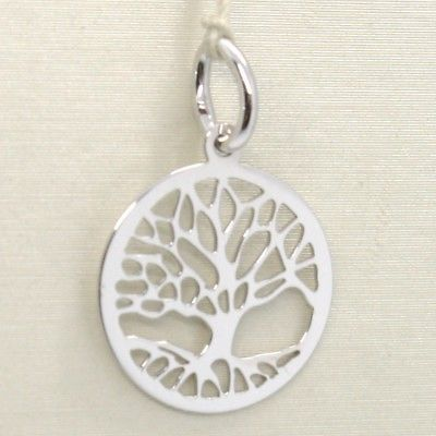 18K WHITE GOLD TREE OF LIFE ROUND FLAT PENDANT CHARM, 0.85 INCHES MADE IN ITALY