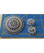 vintage Sarah Coventry pin brooch matching earrings clip on silver tone   - $20.00