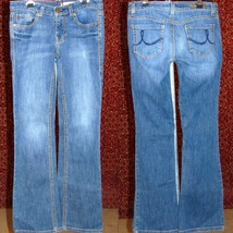 DKNY TIMES SQUARE JEANS Med blue cotton blend boot cut jeans 25R (T25-02... - $17.80