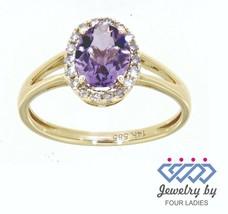 Amethyst Edelstein 14K Gelbgold 0.92CT Echt Natürlich Halo Diamantring - $206.90