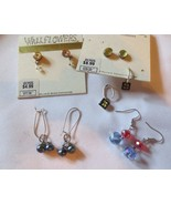 5 pairs pierced earrings Wildflowers Faux black pearls dangles 1 Sterling - $20.00