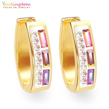 Yunkingdom shiny colorful crystal hoop earrings for women ladies fashion... - $14.91