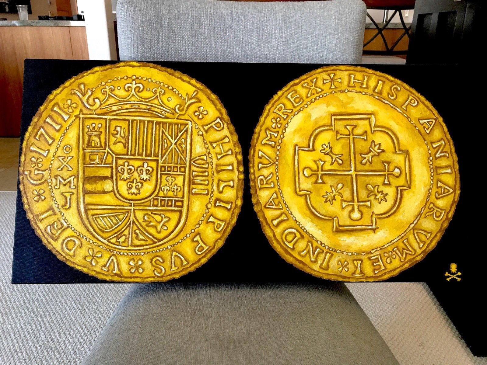 "PRINT (NOT PAINTING): MEXICO 1711 ROYAL ""FLEET SHIPWRECK"" ESCUDOS  GOLD TREASURE"