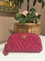 Coach Madison Chevron Nylon Cosmetic Case 46592 Fuchsia Pink M4 - $48.37