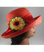 Women's Red Straw Boater Hat Ribbon and Floral Bow Easter Sunhat - $47.99